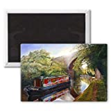 Kate Boat on the Grand Union Canal, 2001.. - 3x2 inch Fridge Magnet - large magnetic button - Magnet