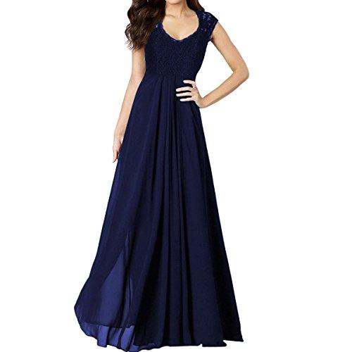 Sue&Joe Women's Chiffon Bridesmaid Dress Lace V-neck Sleeveless Vintage Maxi Dress, Navy Blue, TagsizeS=USsize2-4