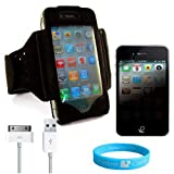 Black Exercise Armband for iPhone 4 + Private Screen Protector + OEM Data Cable + Wisdom * Courage Wristband