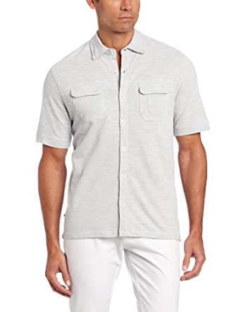 Geoffrey Beene Men's Space Dye Pique Coat Front Classic Fit Polo, Medium Grey, Small