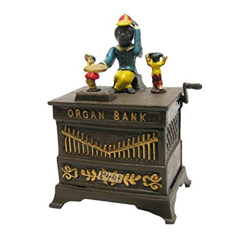 Progettazione Toscano SP1683 Scimmia Organ Grinder Collectors 'Die Cast Iron meccanica Coin Bank