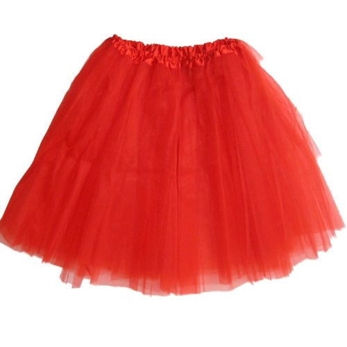 "Older Girl Tutu Ballet Dance 16.5"" Long Waist Stretches to 36"" (Red)"