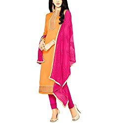 Applecreation Orange Dress Material With Heavy Embroidered Matching Dupatta for Women's
