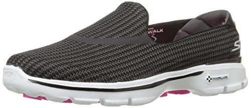 Skechers Performance Women's Go Walk 3 Slip-On Walking Shoe,Black/White,7 M US