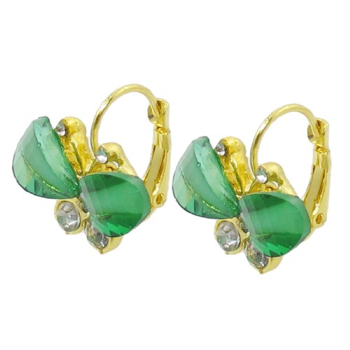 Rosallini Women Rhinestone Inlaid Green Butterfly Design Metal Clip Earrings