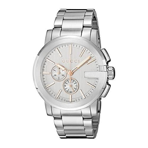 Gucci G- Chrono Collection Men's Quartz Watch with Silver Dial Chronograph Display and Stainless Steel Case and...