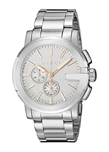 Gucci  YA101201 - Reloj de cuarzo unisex, con correa de acero inoxidable, color plateado