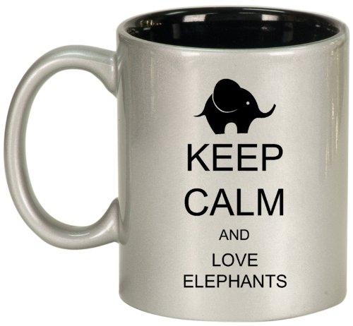 Keep Calm And Love Elephants Ceramic Coffee Tea Mug Cup Silver Black