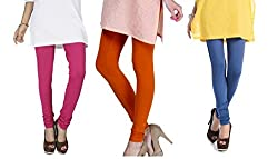 Rupa Softline Pink and Orange and Blue Cotton Leggings Combo (Pack Of 3)