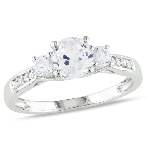 10k White Gold 1 1/3ct TGW Created White Sapphire and Diamond Three Stone Ring (.005 Cttw, G-H Color, I2-I3 Clarity)