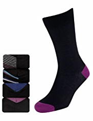 4 Pairs of Autograph Modal Blend Pima Striped Socks