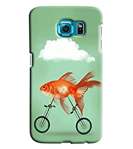Blue Throat Goldfish Riding Bicycle Printed Designer Back Cover/ Case For Samsung Galaxy S6