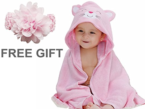 Baby Shower Gift Priors® Super Absorbent Receiving Blanket Baby Blankets Super Soft Baby Bath Robe (Pink)