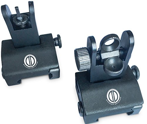 Dagger Defense tactical flip up BUIS picatinny rail mounted backup iron sights. (Backup Iron Sights compare prices)