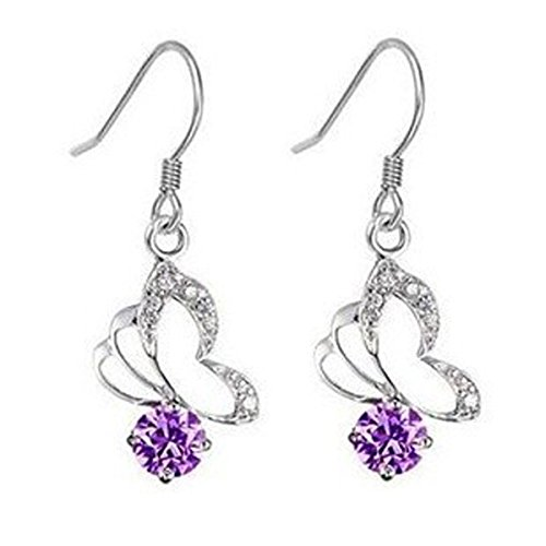 602 Lily Jewellery-Orecchini pendenti, motivo farfalla, colore: viola con cristalli Swarovski Elements-Orecchini da donna