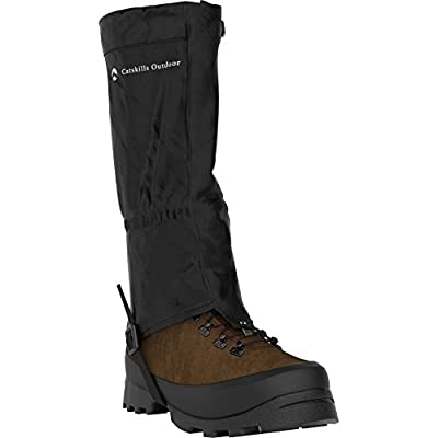 Pair of Quality Hiking and Walking Gaiters from Catskills Outdoor. Ultra-strong 420D Waterproof material for Solid and Reliable Trekking performance. Suitable for Men and Women in Three different sizes. Sold with Extra pair of boot straps. Will Improve yo