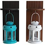 TiedRibbons Lantern Candle Holder With Wooden Shelve Set Of 2