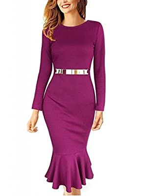 Viwenni® Women's V-Neck Long Sleeve Pleated Evening Party Slim Midi Dress Size S-XL