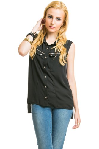 Sleeveless Sheer Button Down in Black