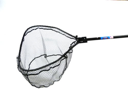 Ranger Nets Knotless Flat Bottom Rubber Coated Net with Telescopic Octagon Handle, 25x25-Inch, Black