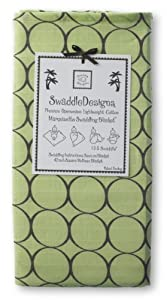 SwaddleDesigns Marquisette Swaddling Blanket, Brown Mod Circles, Lime