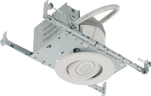 Liteline Rc40118R3-Led-Ew-Fwh All-In-One 4-Inch Led Recessed Combo With New Construction Housing, 6W Led Par16 Lamp, Gimbal Trim, Flat White