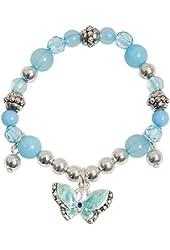 Pretty Little Girls Blue Enamel Butterfly Sparkle Charm Bracelet