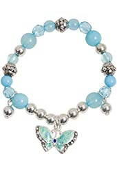 Pretty Little Girls Blue Enamel Butterfly Sparkle Charm Bracelet