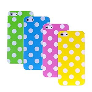 4 in1 Accessory Set for Iphone 5C Silicone Polka Dot Case Cover TPU Silicone Case Cover Case Shell Case Anti Dust Cover - White, Purple, Yellow, Blue, Green