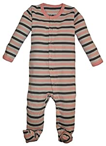 L'ovedbaby Unisex-Baby Newborn Organic Gl'Oved-Sleeve Overall, Coral Stripe, New Born