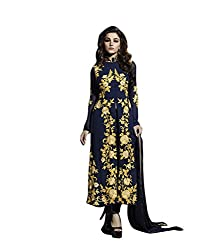 NIK CREATION Women's Georgette Semi-Stitched Straight Suit