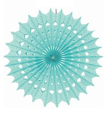 Damask Hanging Fan Decorations (Robin's Egg Blue) Party Accessory - 1