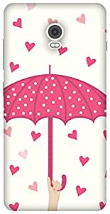 The Racoon Lean Pink Raining Love hard plastic printed back case / cover for Lenovo Vibe P1
