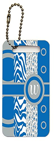 Rikki Knighttm Letter W Monogrammed Initial Dazzling Blue - Animal Prints Leopard Zebra - Spring Fashion Colors 2014 - Design Luggage Tags (Set Of 6)