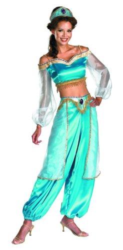 Disguise Women's Disney Aladdin Jasmine Sassy Prestige Costume, Green, Large 12-14
