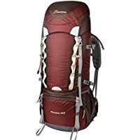 Mountaintop 60L Water-resistant Hiking Backpack (Maroon)