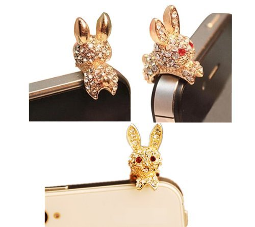 Poposh Bunny Rabbit 3.5mm Crystal Anti Dust Plug Bling Earphone Jack Glitter Diamond Rhinestone Headphone Port Stopper Caps For iPhone 3 3G 3GS 4 4GS 4S/iPad 1 2 3 /Ipad mini/ Samsung Galaxy Tab 10.1 P7500 P5110 /Samsung Galaxy Note 10.1/ Samsung Galaxy Tab 7.0 P3110 P6100 P1000/10.1 Supertab, epad,apad, samsung galaxy S2 i9100 i9220 S3 I9300 ,S4 I9500, tab n7000/ HTC sensation XL, DESIRE HD ONE X ,LG P880,Nokia Lumia ,Blackberry ,etc uiversal (Union Jack Style) - Gold