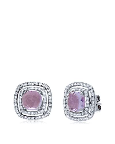 Shy Creation 0.58ct Diamond and 2.11ct Amethyst 14k White Gold Earrings