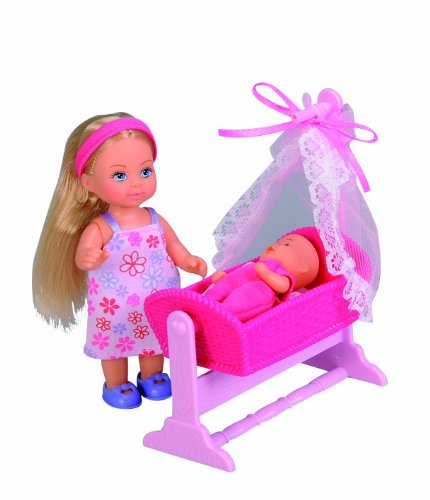 Evi Love Mommy & Baby In Cradle & 12 Accessories front-44215