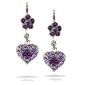 Amaro Jewelry, Earrings - Petite Heart, in Silver, Rose and Purple Tones #E031RULG AOE OE