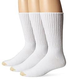 Gold Toe Men's 3 Pack Casual Crew Extended Sock, White, 13-15