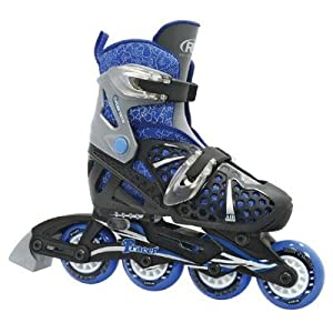 Roller Derby Boy's Tracer Adjustable Inline Roller Skates (Black/Blue - Small (12-1))