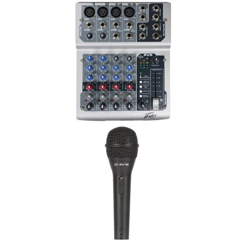 Peavey Pv6 Usb Mixing Console With Peavey Pvi 2 Vocal Microphone