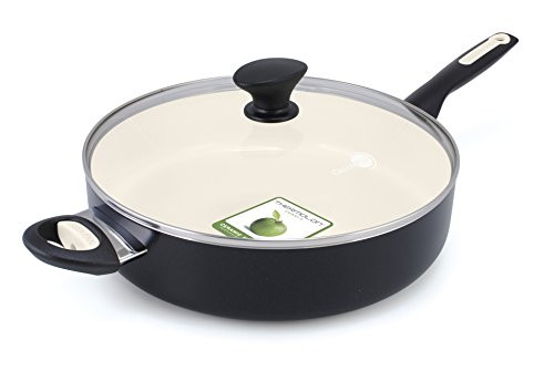 GreenPan Rio 5 Quart Ceramic Non-Stick Covered Skillet with Helper Handle, Black (Ceramic Saute Pan compare prices)