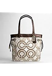 Coach Audrey Signature Leah Swirl Shopper Book Bag Purse Tote 17044 Brown
