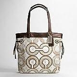 Coach Audrey Signature Leah Swirl Shopper Book Bag Purse Tote 17044 Brown