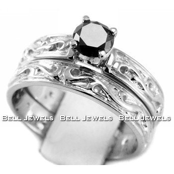 FancyBlack Diamond Engagement Ring & Wedding Band Set 14k White Gold Antique Style