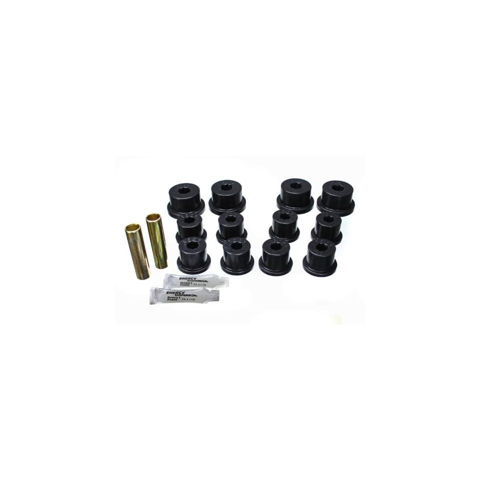 Energy Suspension 1.2101G Leaf Spring Bushing Set; Black; Front/Rear; For Shackles; Performance Polyurethane;