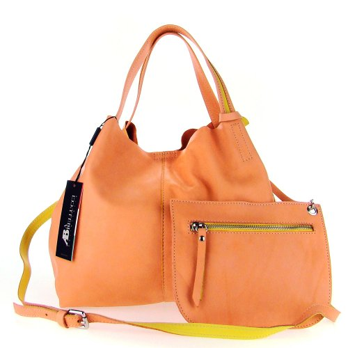13eae85dc6 ASIA BELLUCCI Italian Made Light Salmon Soft Leather Small Slouchy Designer  Tote with Pouch