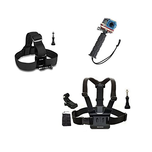 Masione™ Head Belt Strap+ Chest Harness Strap+ Aluminum Handle Grip Mount W/ Tripod Adapter+ Aluminum Thumbscrew/Thumb Screw Knob+J-Hook Mount--Compatible With Gopro Hero1, Hero2, Hero3, Hero3+ Camera